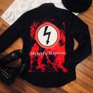 Handmade Marilyn Manson Rock Band Button Down Top
